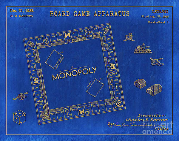 Dice Digital Art - 1935 Monopoly Patent Art 3 by Nishanth Gopinathan