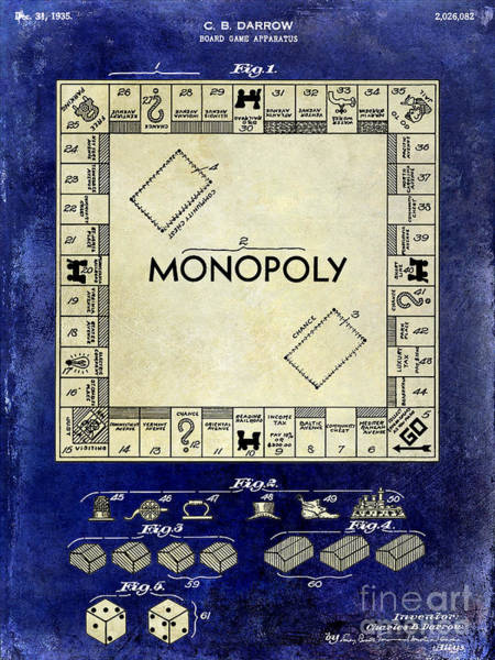 Monopoly Photograph - 1935 Monopoly Patent Drawing 2 Tone Blue by Jon Neidert