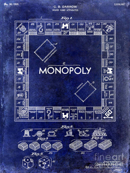 Monopoly Photograph - 1935 Monopoly Patent Drawing Blue by Jon Neidert