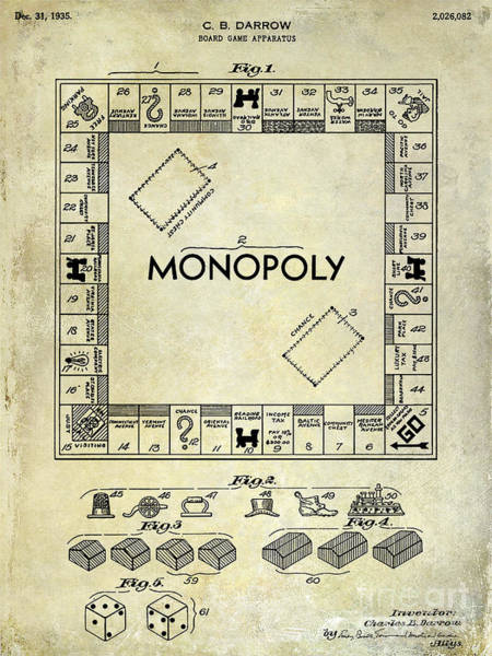 Cash Photograph - 1935 Monopoly Patent Drawing by Jon Neidert