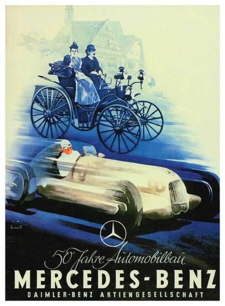 Wall Art - Digital Art - 1936 - Mercedes Benz German Poster Advertisement - Color by John Madison