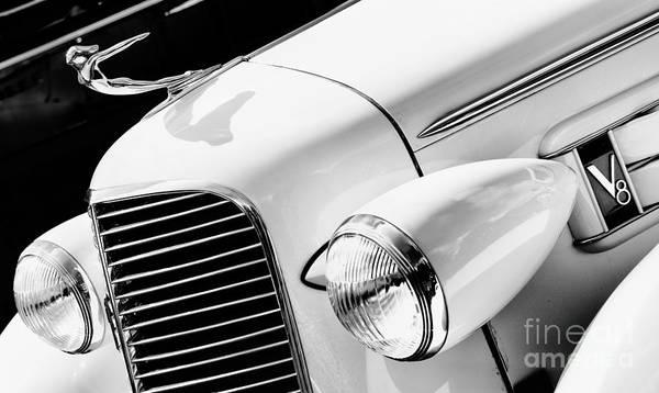Motorcar Photograph - 1936 Cadillac V8 Monochrome by Tim Gainey