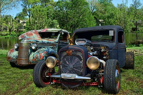 Photograph - 1936 Chevrolet And 1939 Chevrolet Rat Rod Pickups by Tim McCullough