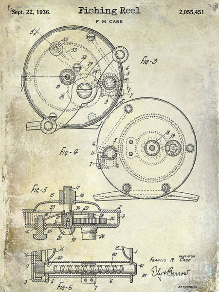 1936 Fishing Reel Patent Drawing Art Print