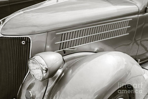 Photograph - 1936 Ford Roadster Classic Car Or Automobile Front Fender In Sepia  3118. by M K Miller