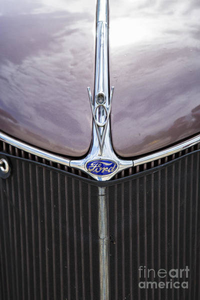 Photograph - 1936 Ford Roadster Classic Car Or Automobile Front Grill In Color  3117.0 by M K Miller