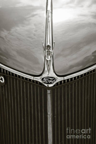 Photograph - 1936 Ford Roadster Classic Car Or Automobile Front Grill In Sepia  3117.0 by M K Miller
