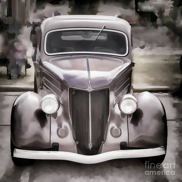Painting - 1936 Ford Roadster Classic Car Or Automobile Painting In Color  3120.02 by M K Miller