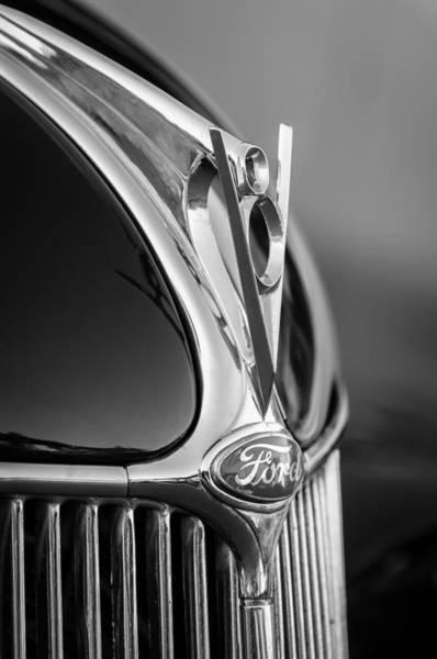 Phaeton Photograph - 1936 Ford Phaeton V8 Hood Ornament - Emblem -0258bw by Jill Reger