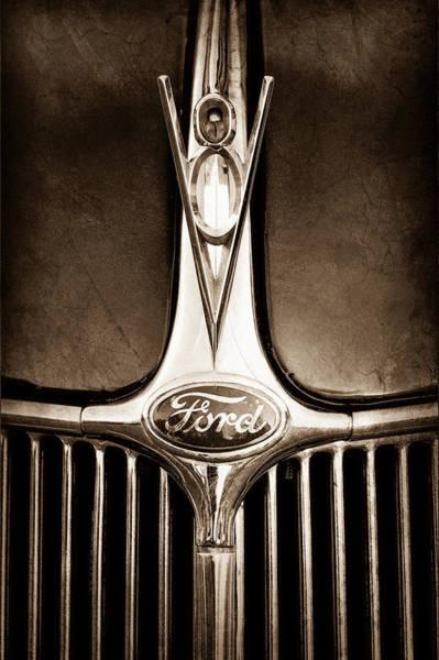 Phaeton Photograph - 1936 Ford Phaeton V8 Hood Ornament - Emblem by Jill Reger