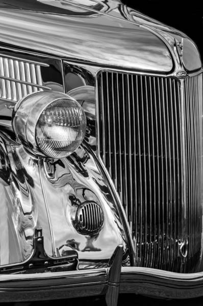 Stainless Steel Wall Art - Photograph - 1936 Ford Stainless Steel Grille -0376bw by Jill Reger