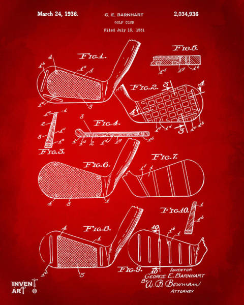 Wall Art - Digital Art - 1936 Golf Club Patent Artwork Red by Nikki Marie Smith