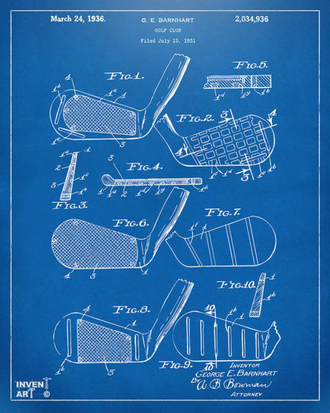 Cross Section Digital Art - 1936 Golf Club Patent Blueprint by Nikki Marie Smith