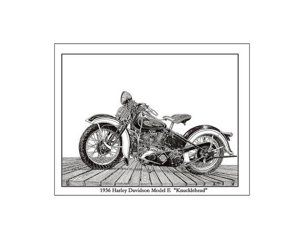 Knucklehead Wall Art - Painting - 1936 Harley Knucklehead by Jack Pumphrey