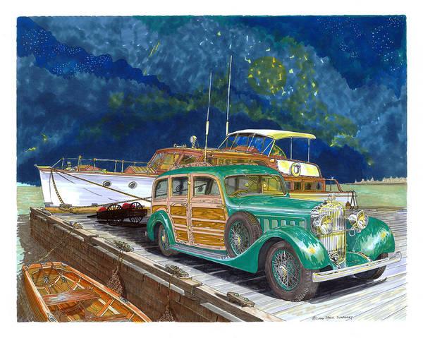 Classic Car Drawings Painting - 1936 Hispano Suiza Shooting Brake by Jack Pumphrey