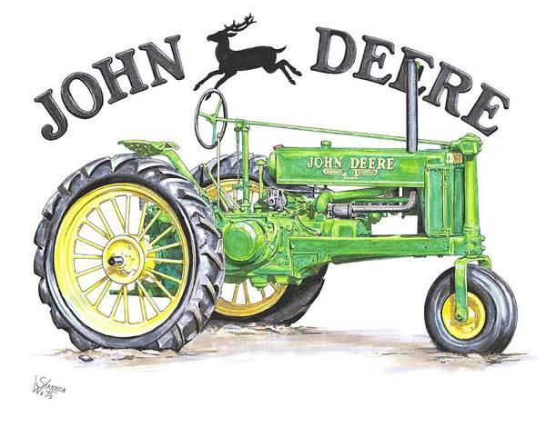 Farm Equipment Drawing - 1936 John Deere by Shannon Watts