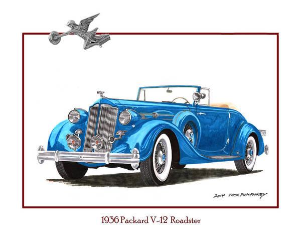 Arisen Painting - 1936 Packard V 12 Roadster by Jack Pumphrey