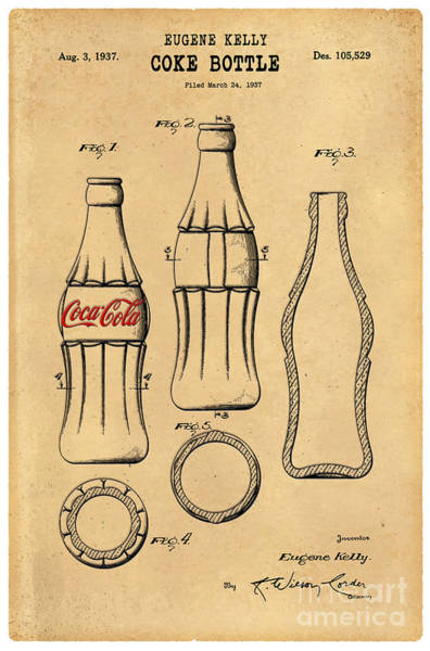 Coca-cola Wall Art - Drawing - 1937 Coca Cola Bottle Design Patent Art 5 by Nishanth Gopinathan