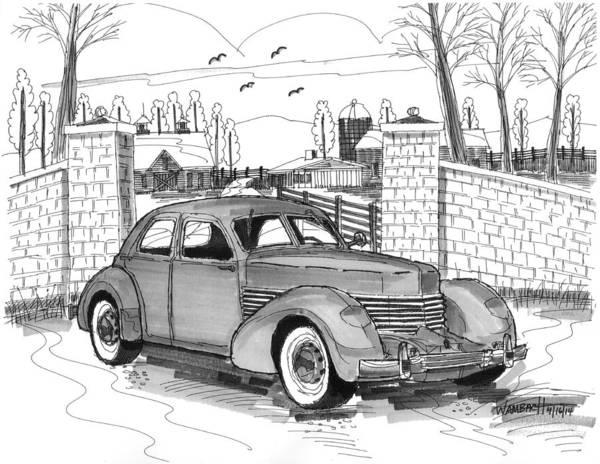 Drawing - 1937 Cord 812 by Richard Wambach