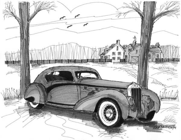 Drawing - 1937 Delage D8 120 by Richard Wambach