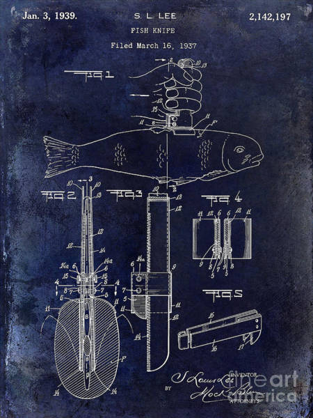 1937 Fishing Knife Patent Blue Art Print