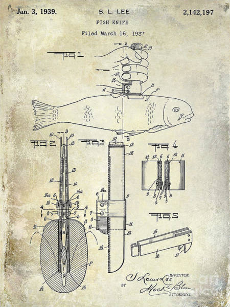 1937 Fishing Knife Patent Art Print