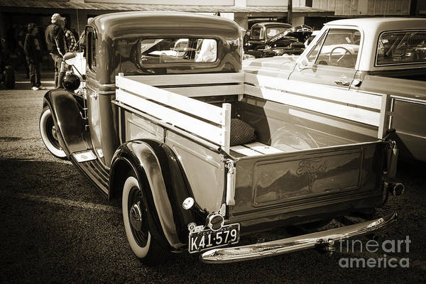 Photograph - 1937 Ford Pickup Truck Bed Classic Car Photograph In Sepia 3312. by M K Miller