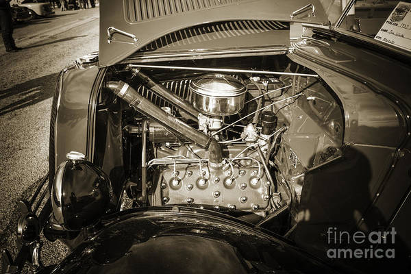 Photograph - 1937 Ford Pickup Truck Classic Car Engine Photograph In Sepia 33 by M K Miller