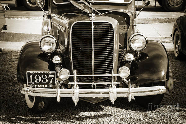 Photograph - 1937 Ford Pickup Truck Classic Car Front End Photograph In Sepia by M K Miller