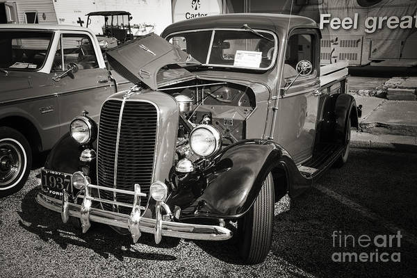 Photograph - 1937 Ford Pickup Truck Classic Car Photograph In Sepia 3308.01 by M K Miller