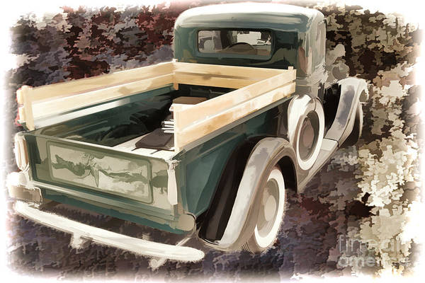 Painting - 1937 Ford Pickup Truck Spare Tire Classic Car Painting In Color  by M K Miller