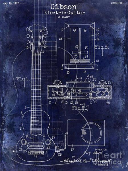 Guitar Neck Photograph - 1937 Gibson Electric Guitar Patent Drawing Blue by Jon Neidert