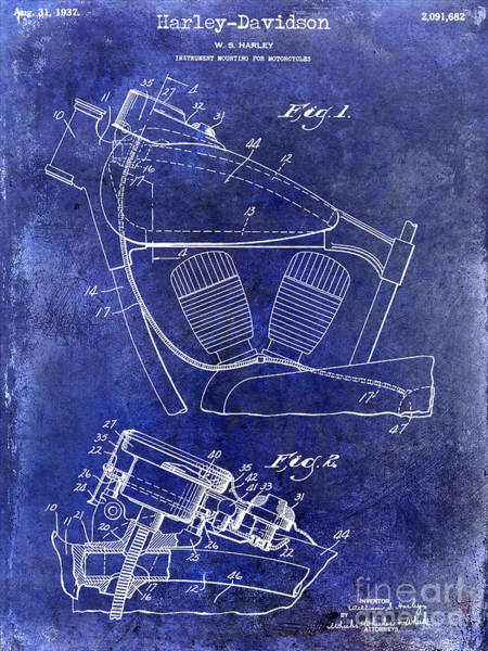 Victory Motorcycle Photograph - 1937 Harley Davidson Patent Drawing Blue by Jon Neidert