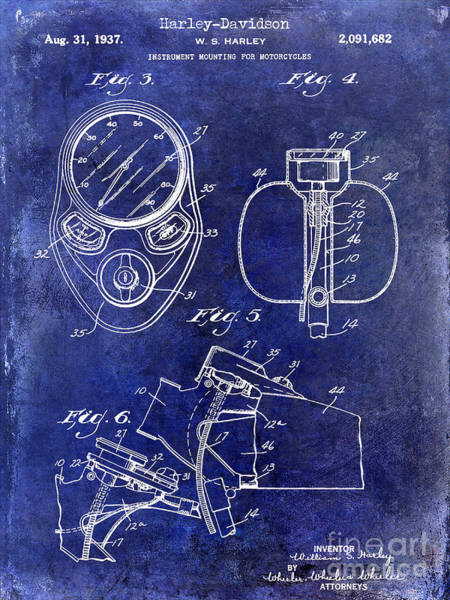 Victory Motorcycle Photograph - 1937 Harley Davidson Patent Drawing Instrument Blue by Jon Neidert