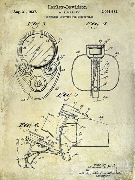 Victory Motorcycle Photograph - 1937 Harley Davidson Patent Drawing Instrument by Jon Neidert
