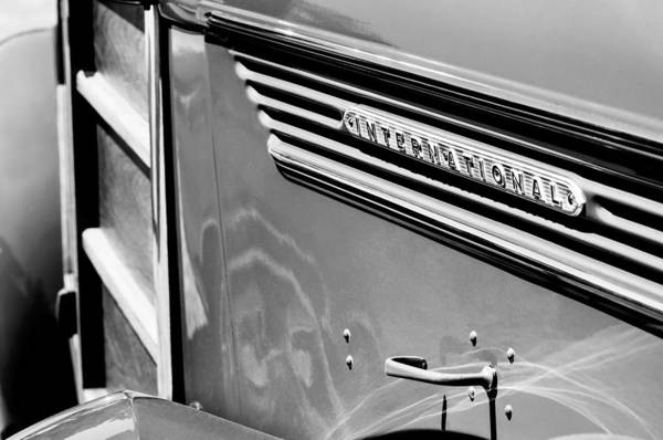Photograph - 1937 International D-2 Station Wagon Side Emblem by Jill Reger
