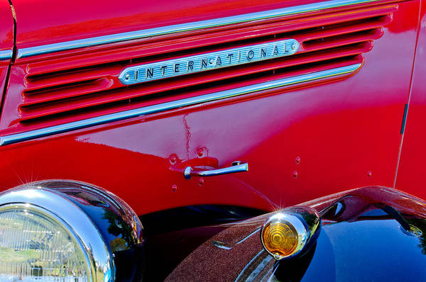 Photograph - 1937 International D2 Pickup Truck Side Emblem by Jill Reger