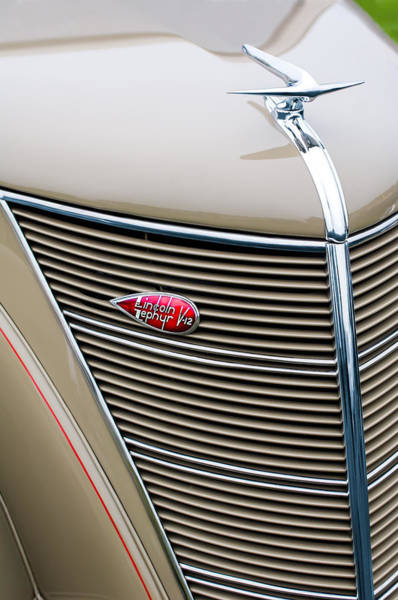 Coupe Photograph - 1937 Lincoln-zephyr Coupe Sedan Grille Emblem - Hood Ornament by Jill Reger