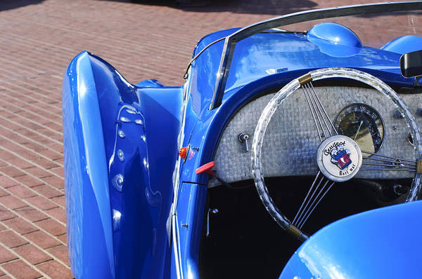 Photograph - 1937 Peugeot 402 Darl'mat Legere Speacial Sport Roadster Recreation Steering Wheel Emblem by Jill Reger