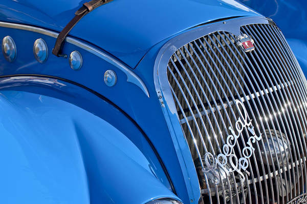 Auto Show Photograph - 1937 Peugeot 402 Darl'mat Legere Special Sport Roadster Recreation Grille Emblem by Jill Reger
