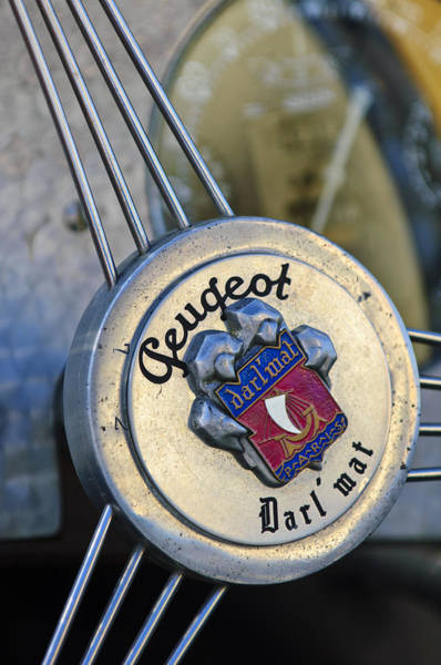 Photograph - 1937 Peugeot 402 Darl'mat Legere Special Sport Roadster Recreation Steering Wheel Emblem by Jill Reger