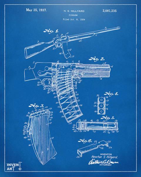 Wall Art - Digital Art - 1937 Police Remington Model 8 Magazine Patent Artwork - Blueprin by Nikki Marie Smith