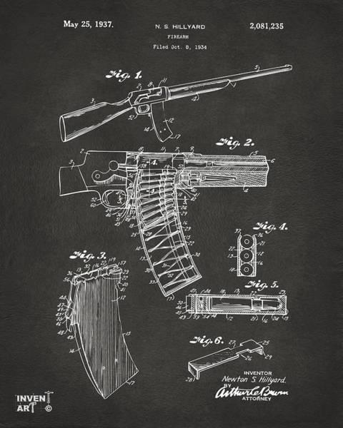 Wall Art - Digital Art - 1937 Police Remington Model 8 Magazine Patent Artwork - Gray by Nikki Marie Smith