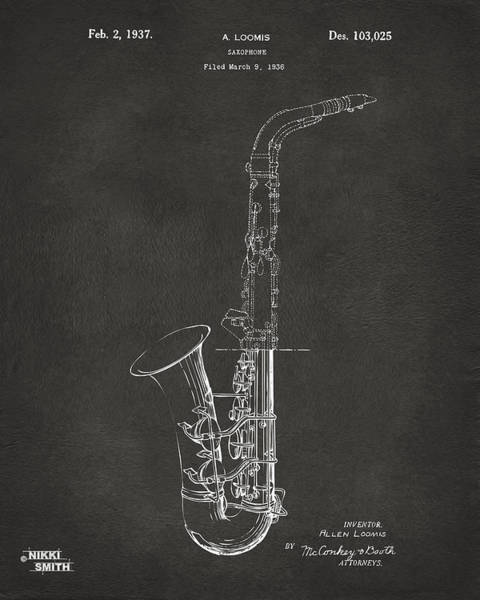 Marching Digital Art - 1937 Saxophone Patent Artwork - Gray by Nikki Marie Smith
