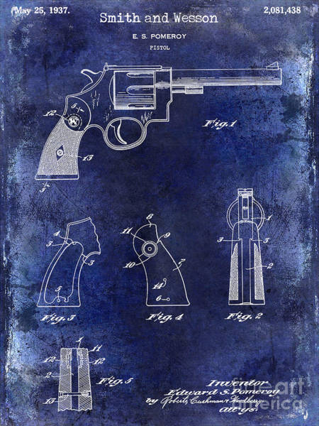 Wesson Photograph - 1937 Smith And Wesson Firearm Patent Drawing Blue  by Jon Neidert