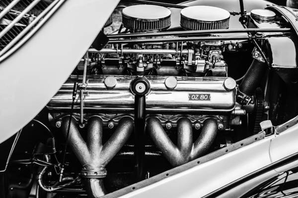 Photograph - 1938 Bmw 327-8 Cabriolet Engine -1513bw by Jill Reger