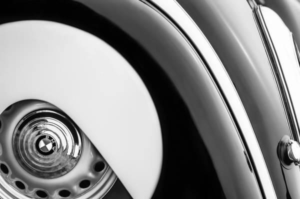 Photograph - 1938 Bmw 327 - 8 Cabriolet Rear Wheel Emblem -2668bw by Jill Reger