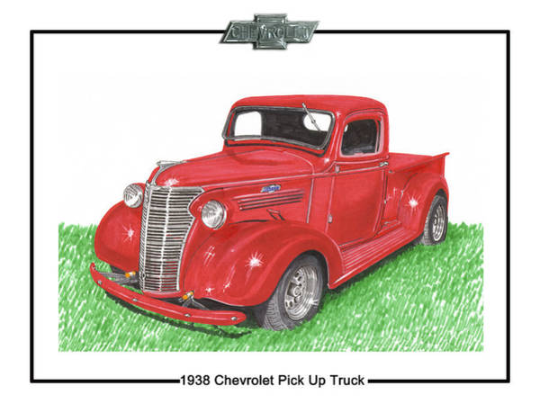 Old Chevy Truck Painting - 1938 Chevrolet Pick Up Truck by Jack Pumphrey