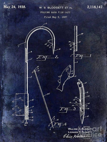 1938 Fishing Gaff Patent Drawing Blue Art Print
