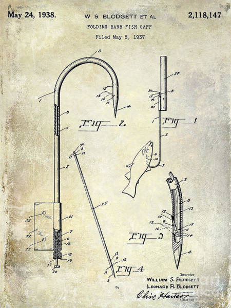 1938 Fishing Gaff Patent Drawing Art Print